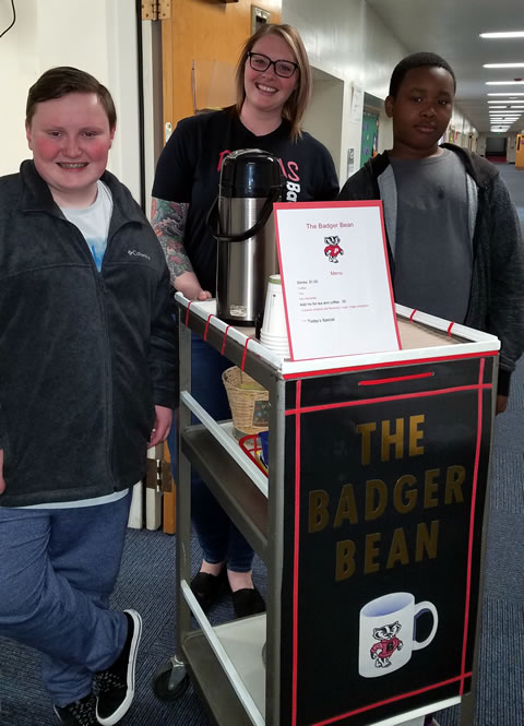 Badger Bean cart and students