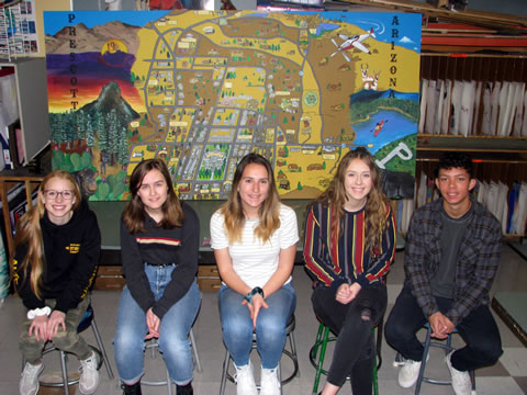 Students in front of mural