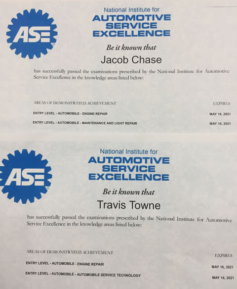 ASE Certificates