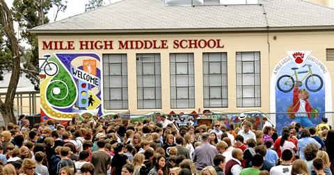 PMHMS Building and crowd